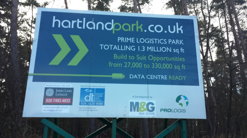 Hartland Village (Pyestock) near Fleet, Hart District, Hampshire, warehouse development not started