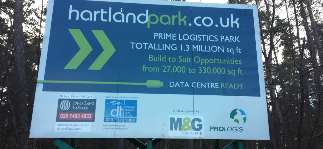 Hartland Park (Pyestock) near Fleet, Hart District, Hampshire, warehouse development not started