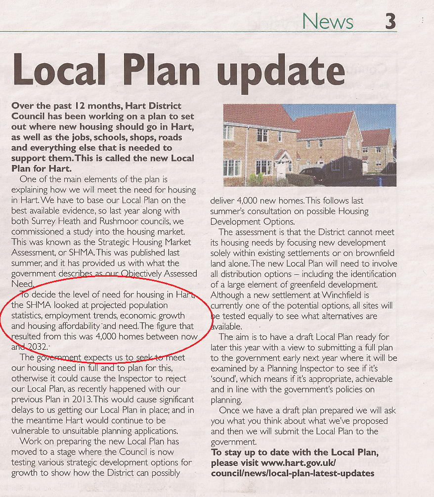 Hart District Council Local Plan Update Spring-Summer 2015