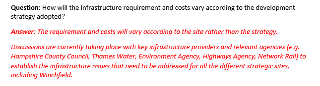Hart District Council does not know how much it will cost to deliver the infrastructure required