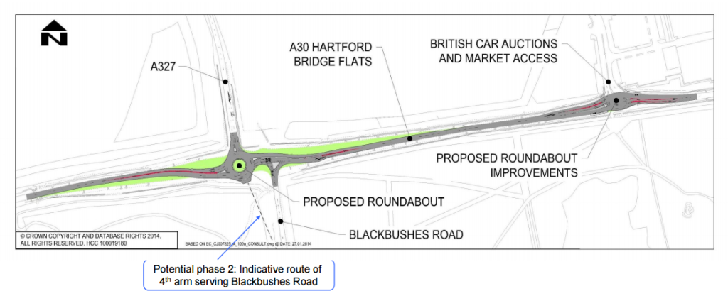 A30-A327-Blackbushes Road Junction Improvements