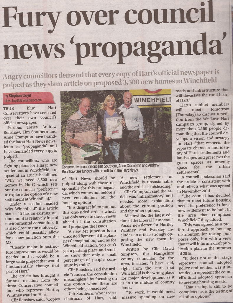 Fury over council news propaganda Fleet News and Mail