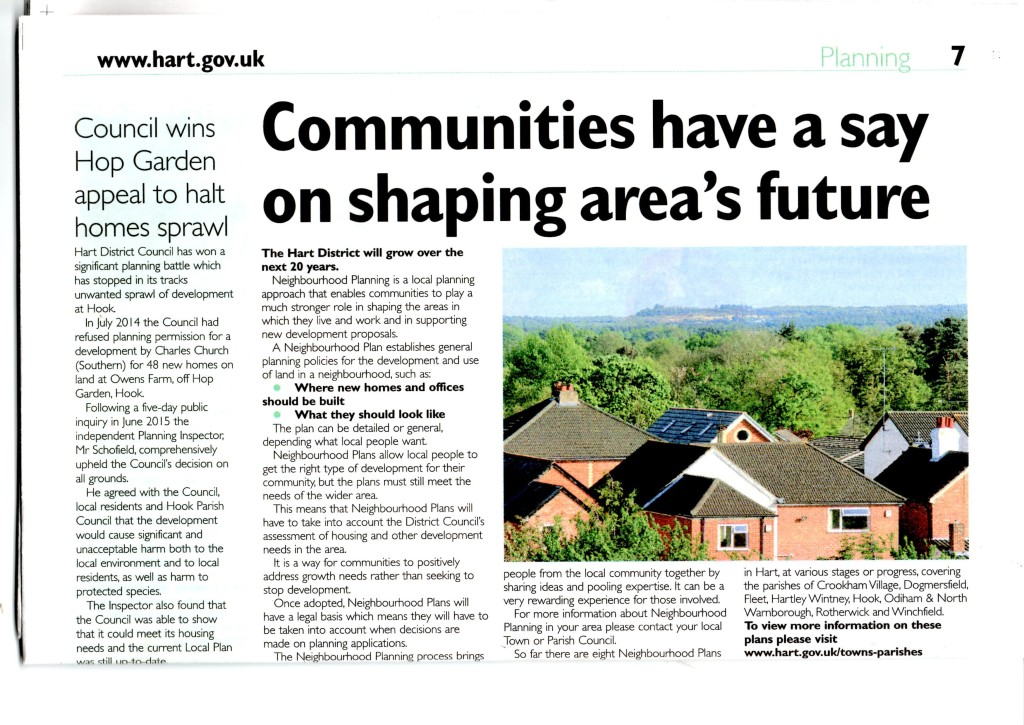 Communities have a say on shaping area's future. Council wins Hop Garden appeal to halt urban sprawl