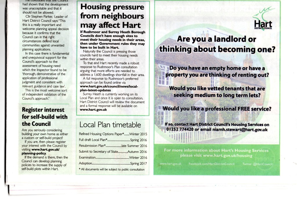 Housing pressure from neighbours may affect Hart. Hart Local Plan timetable. Hart slips Local Plan timetable