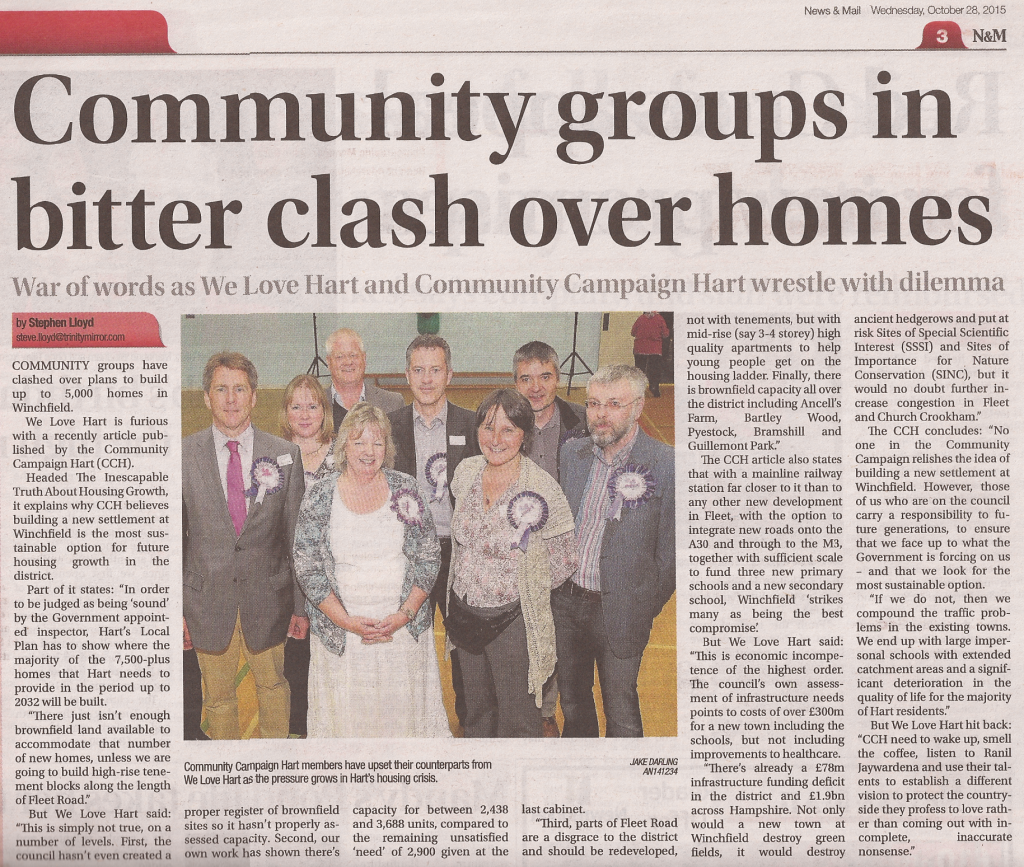 Community Groups in bitter clash over homes Fleet News and Mail 20151028