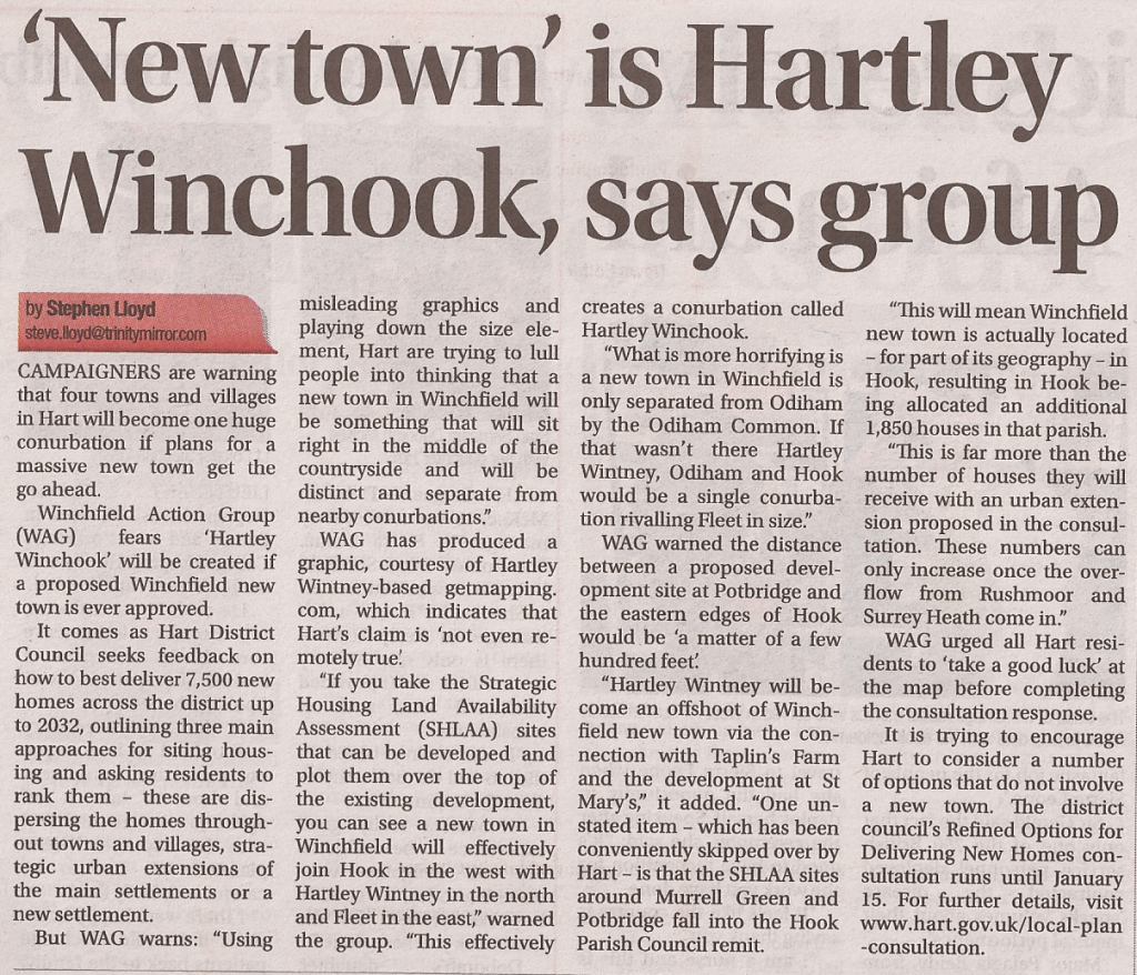 New town is Hartley Winchook say Winchfield Action Group