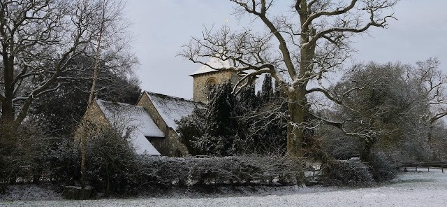 Winter in Winchfield St Mary's Church