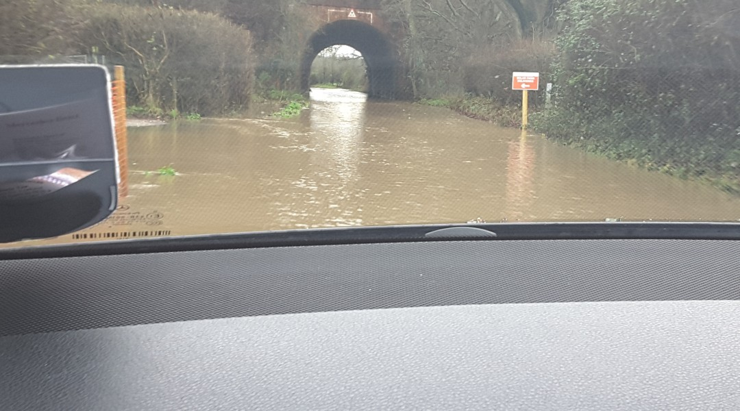 Flood Taplins Farm Road Winchfield 3 January 2016.