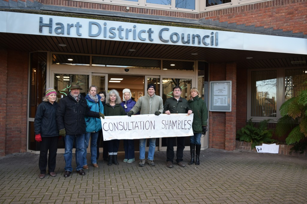 Protest at Hart Council's Offices about the omnishambles Consultation