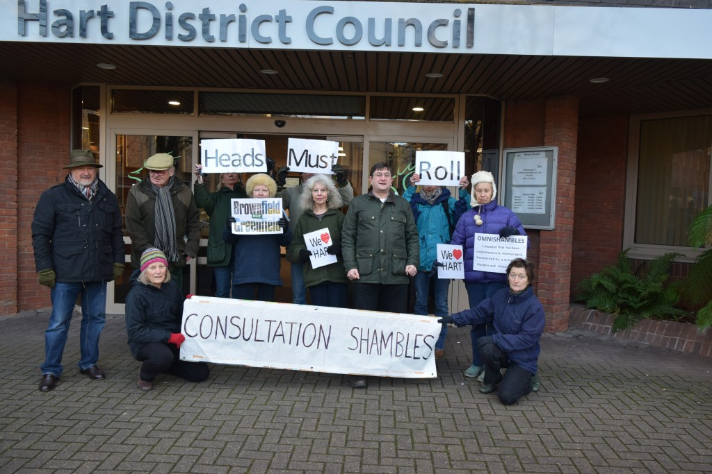 Protest at Hart Council's Offices about the omnishambles Consultation.
