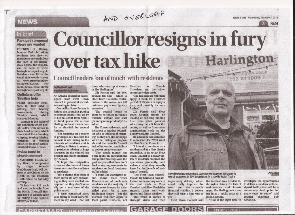 Hart Council Cabinet Member Steve Forster Resigns from Fleet Town Council