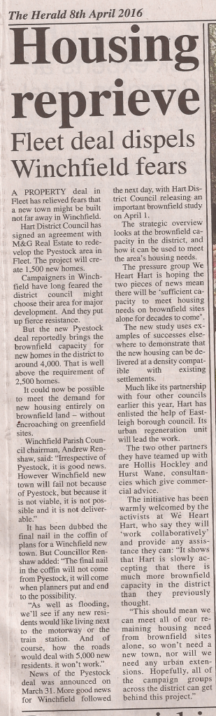 Hook Herald 8 April 2016 Housing Reprieve