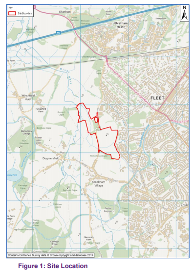 Hart Major Planning Site: Grove Farm - Netherhouse Copse Fleet and Church Crookham Hampshire Site plan