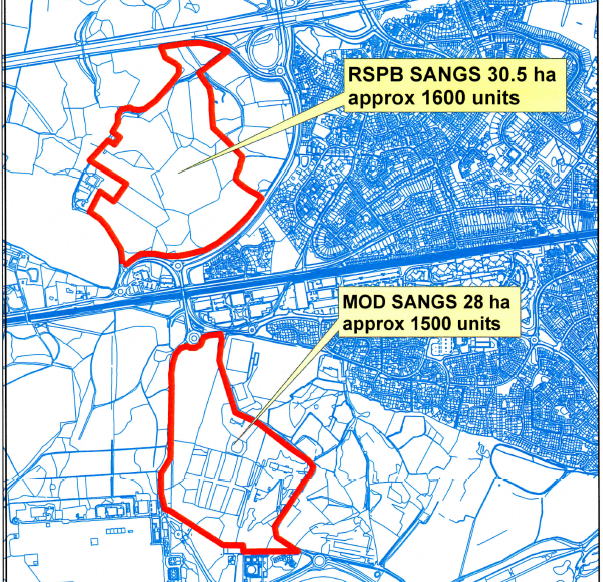 Proposed SANGs at Bramshot Farm and MoD land near Fleet Hampshire for Sun Park and Pyestock (Hartland Village).