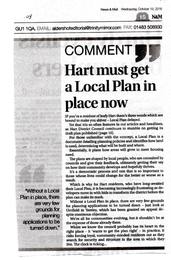 Fleet News Hart must get a Local Plan in place now