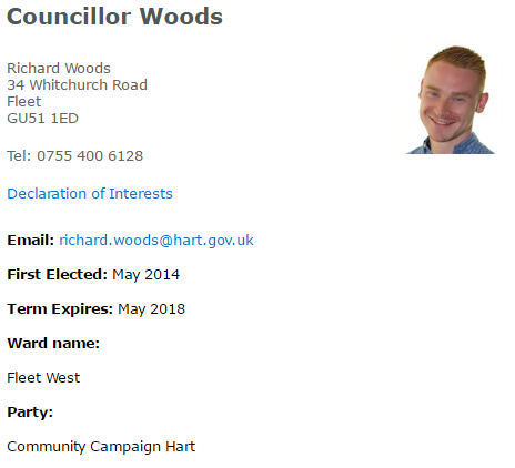 Hart Councillor Richard Woods Community Campaign Hart