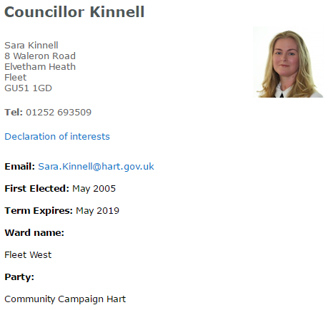 Hart Councillor Sara Kinnell Community Campaign Hart