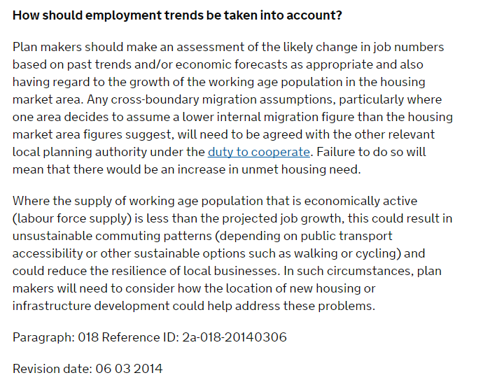 How should employment trends be taken into account NPPG Para 018 Ref 2a-018-20140306