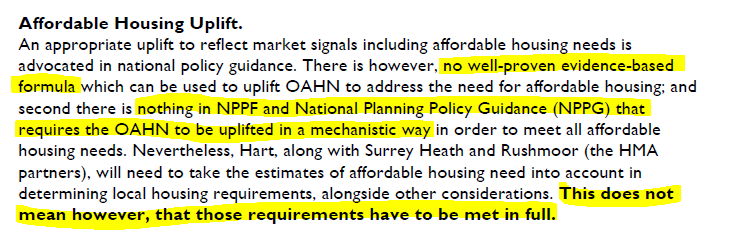 No need to increase the Hart Housing Target to meet afordable homes requirement