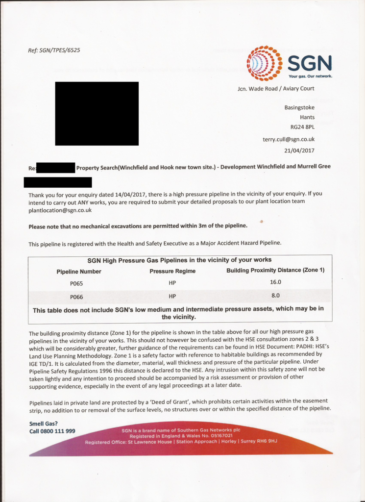 SGN Letter regarding Murrell Green High Pressure Gas Main