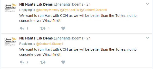 NE Hants Lib Dems statement about Winchfield