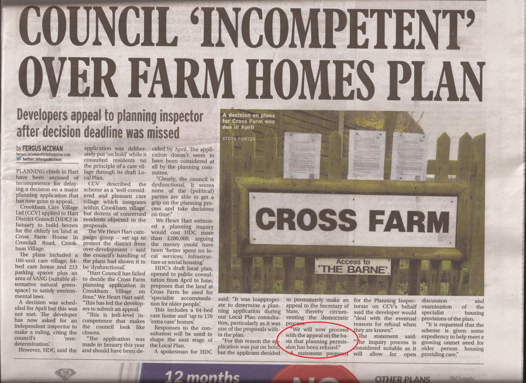 Council Incompetent over farm home plan destroying Local Plan