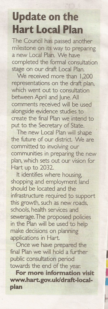 Hart News Local Plan update