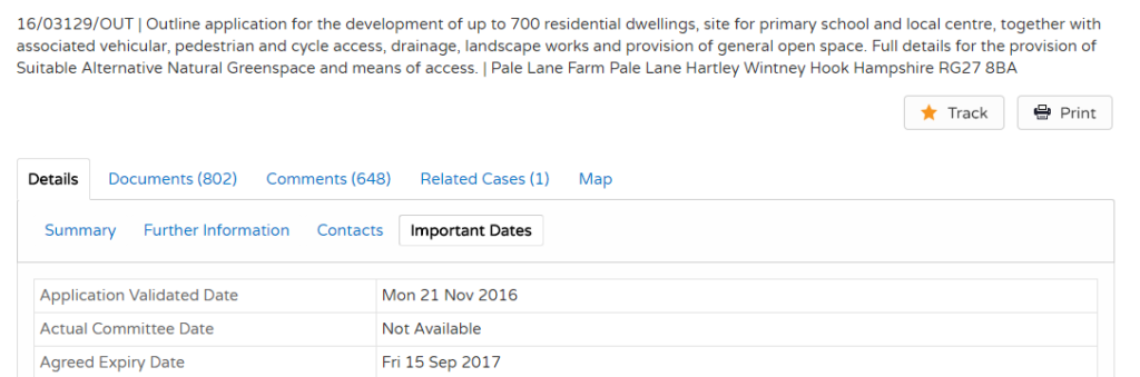 Pale Lane (Elvetham Chase) planning application dates
