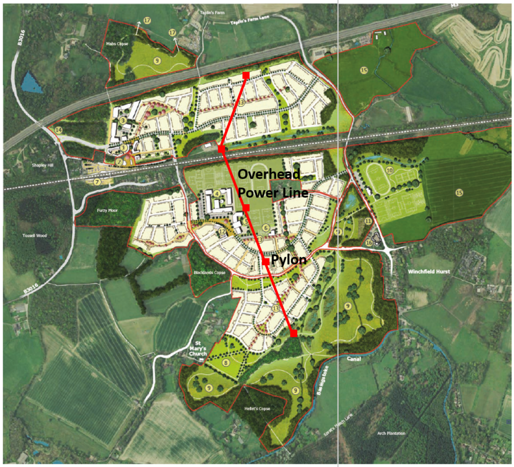 Winchfield Garden Community Master Plan with pylons and powerline
