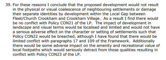 Grove Farm (Netherhouse Copse) Local Gap decision