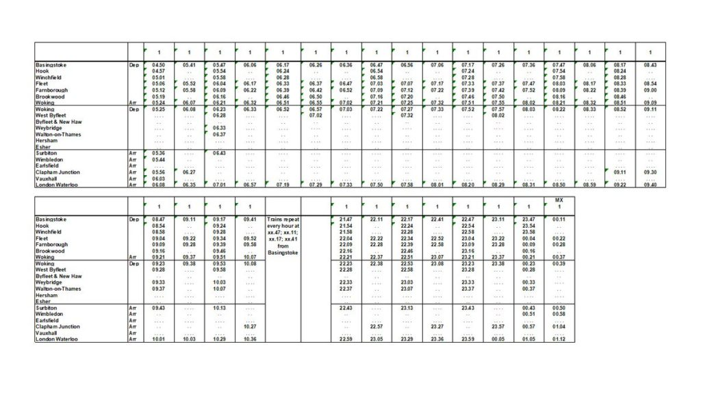 Proposed South West Railway (SWR) Hook and Winchfield to London timetable