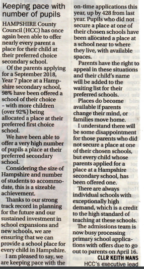Hampshire schools keep up with demand