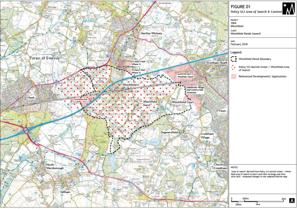 Figure 1 Winchfield New Town Area of Search and Context
