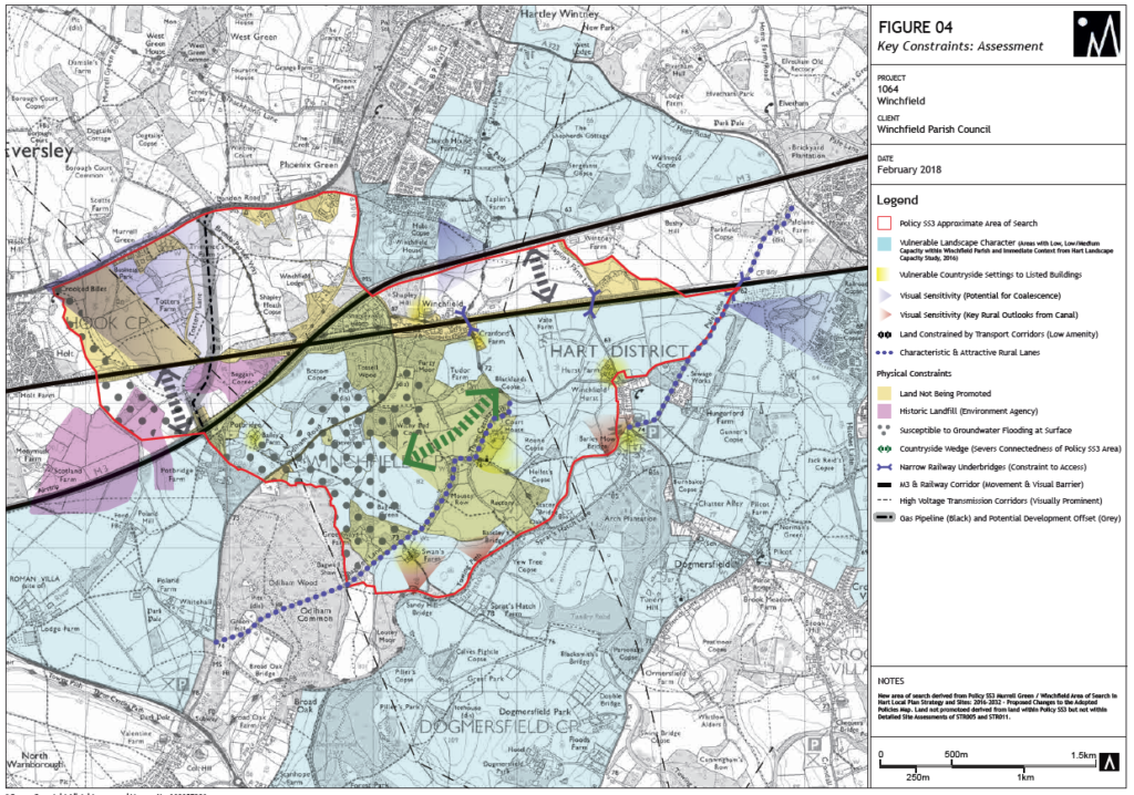 Figure 4 Winchfield New Town Key Constraints Assessment