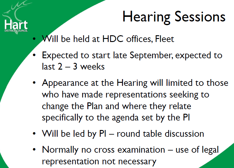 Hart Local Plan Examination Briefing 12 June 2018 - Hearing Sessions