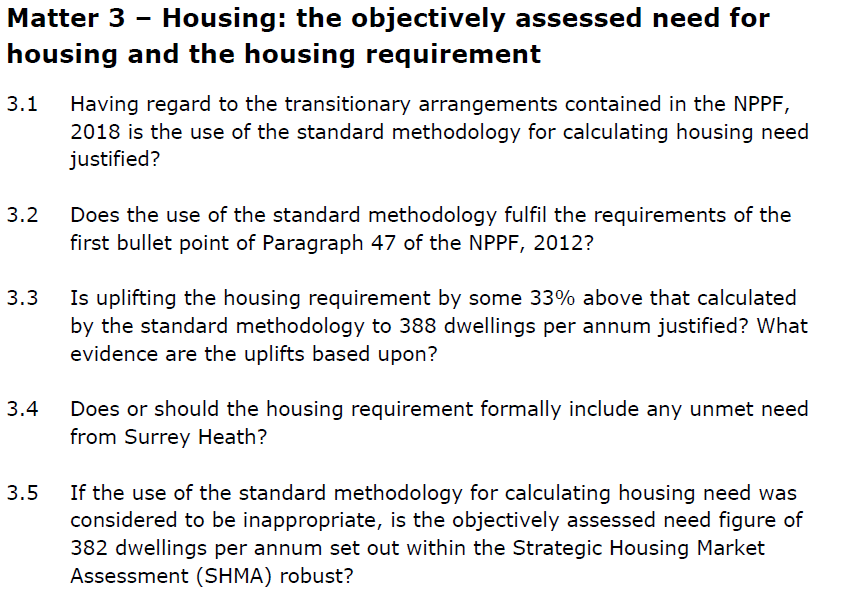 Hart Local Plan Examination Matter 3 - Housing Need and Requirement