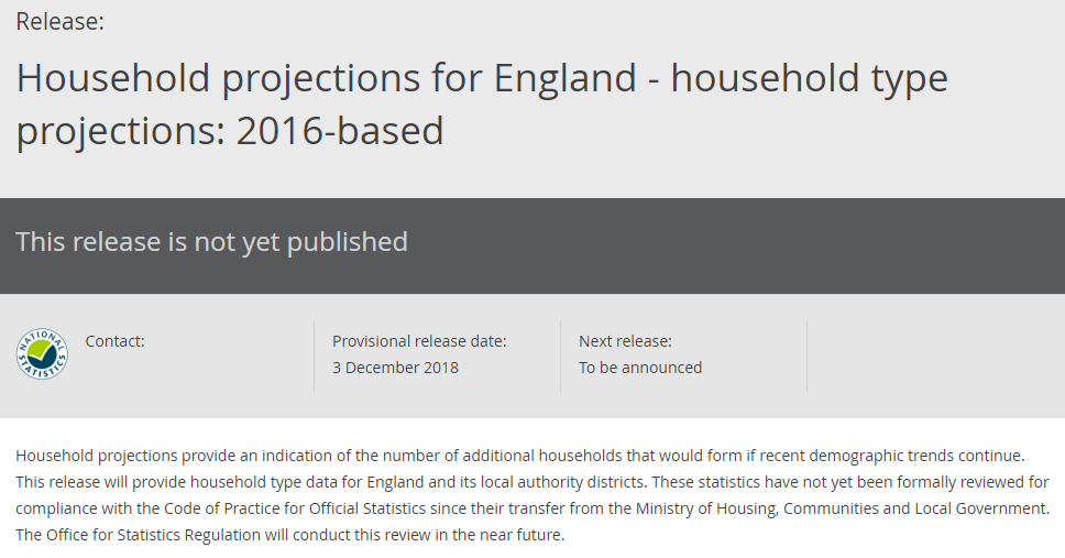 ONS Household type projections December 2018