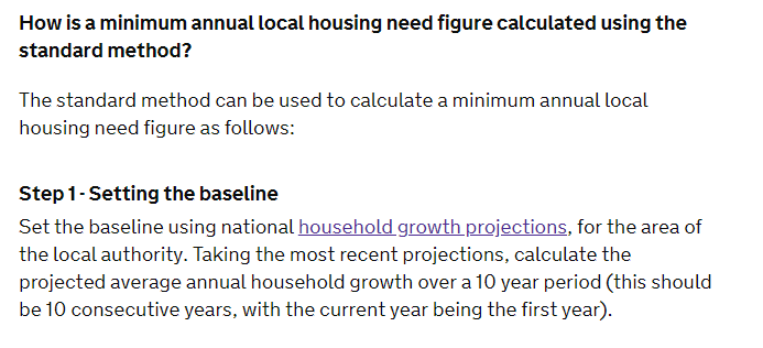 Planning guidance setting the baseline using national household growth projections
