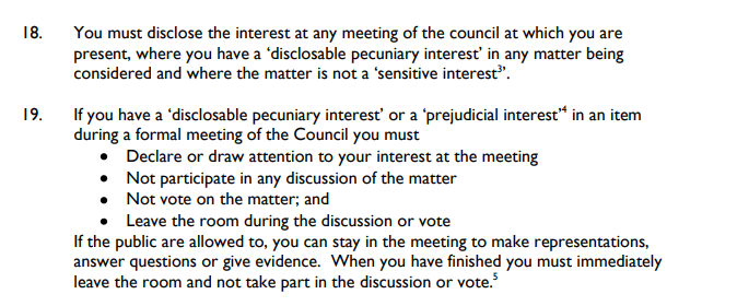 Councillors must declare interests in meetings and not participate in discussion