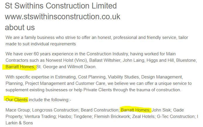 St Swithins Construction client list includes Barratts
