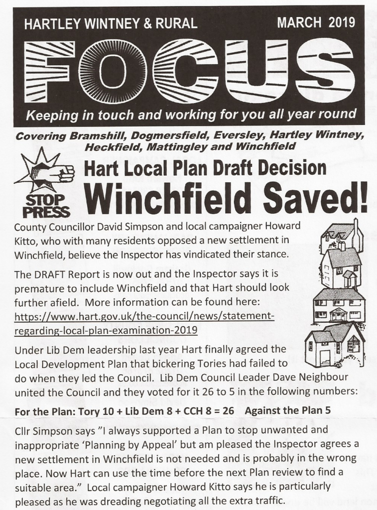 Lib Dem Fake News claims to have saved Winchfield