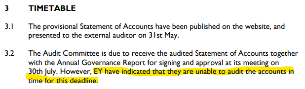 EY unable to audit accounts by deadline