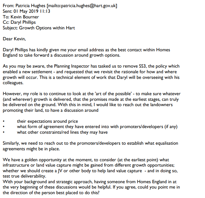 Winchfield fights back: HDC email to Homes England