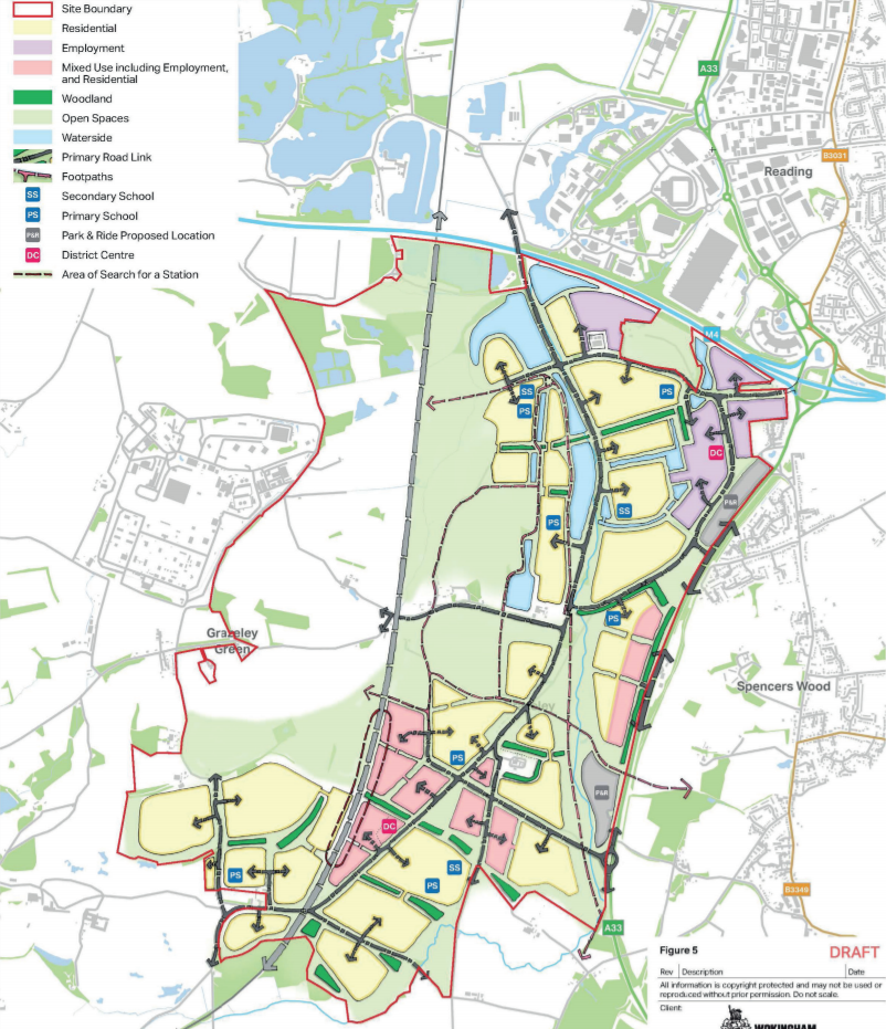 Grazeley Garden Town Masterplan Scenario 1 - 15,000 homes
