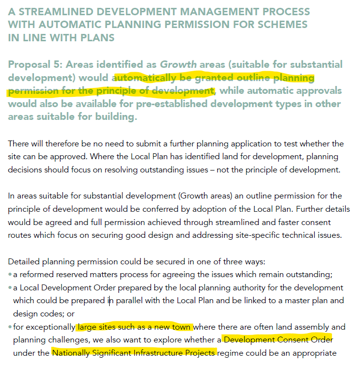 Planning for the future consultation: Automatic permission in principle and development consent orders for new towns