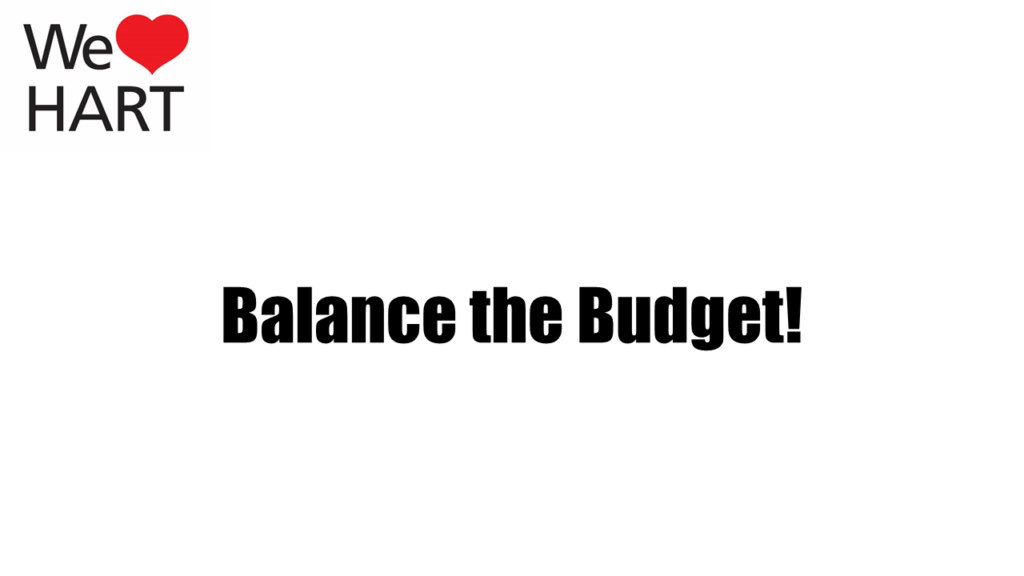 Hart Budget - Letter to Councillors, Balance the Budget