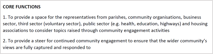 Shapley Heath Stakeholder Forum Core Functions